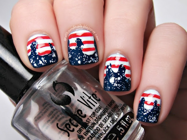 nail art Spellbound Nails Patriotic 4th of July red white blue stripes stars glitter America Independence Day