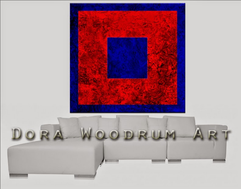 "Original Abstract Painting ""Red & Blue"" by Artist Dora Woodrum"