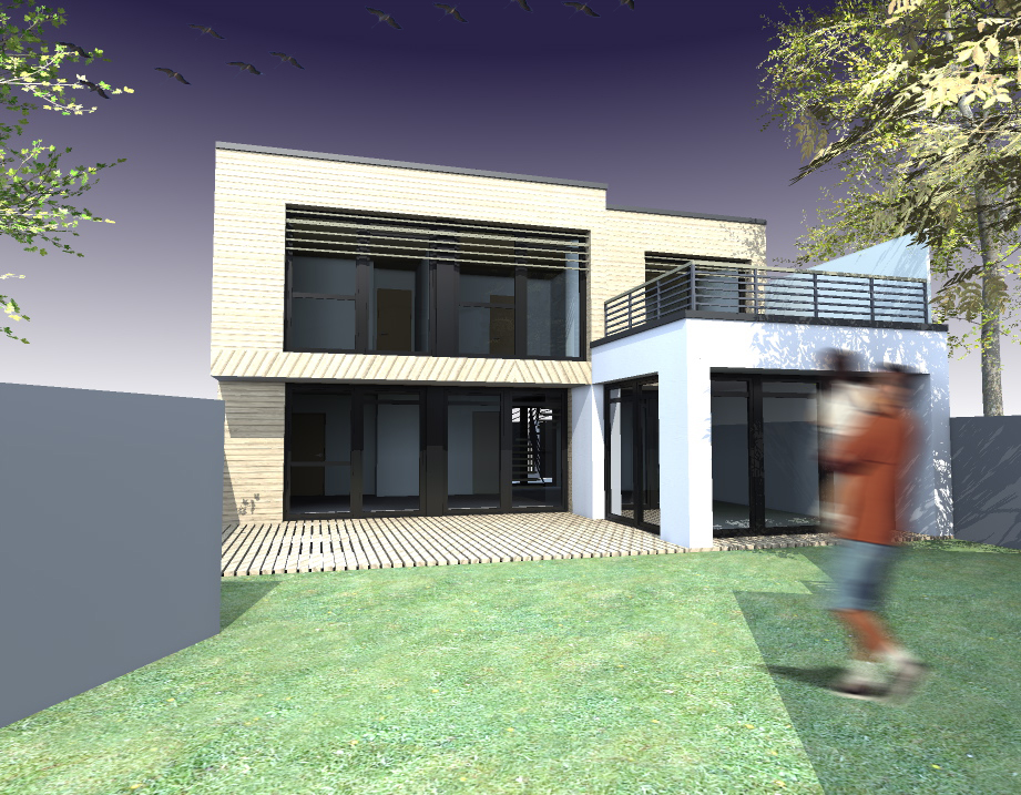 2 maisons ossature bois le plessis robinson maison for Architecte maison bois