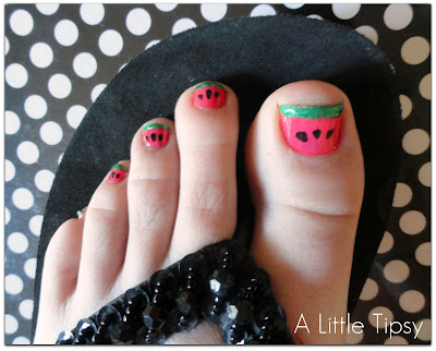 nail art for kids: watermelon toenails tutorial