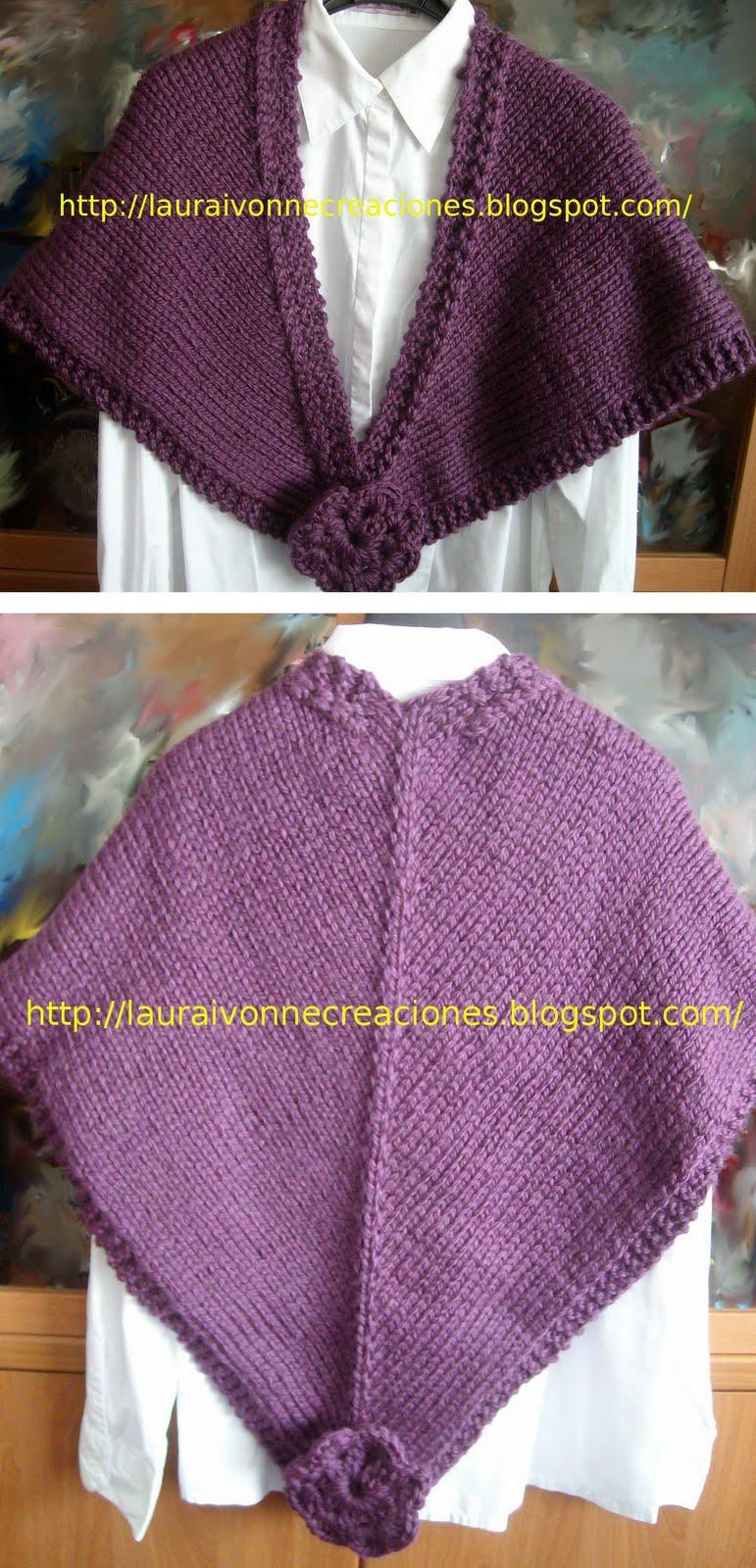 ... : Chal tejido con agujas circulares y flores en crochet de adorno