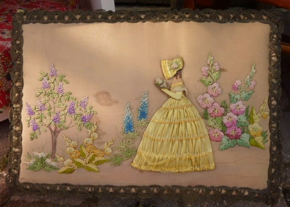 Embroidered vintage crinoline lady chocolate box