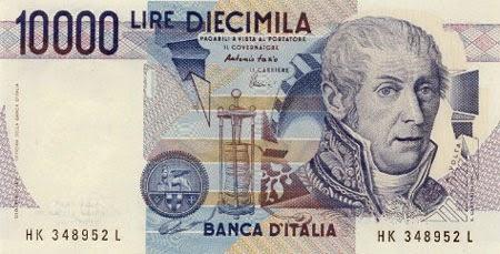 Alessandro Volta sulle vecchie diecimila lire