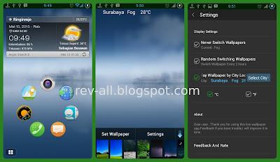 Screenshot aplikasi Live Weather Wallpaper - wallpaper yang berganti sesuai dengan perkiraan cuaca (rev-all.blogspot.com)