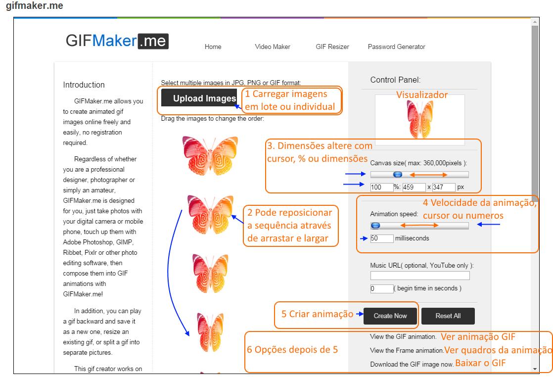 GifMaker-me Interface e dicas