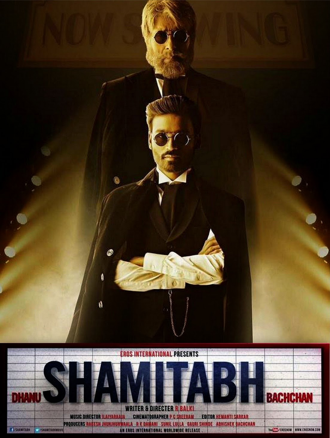 Tall Amitabh Bachchan behind Dhanush in Shamitabh movie poster