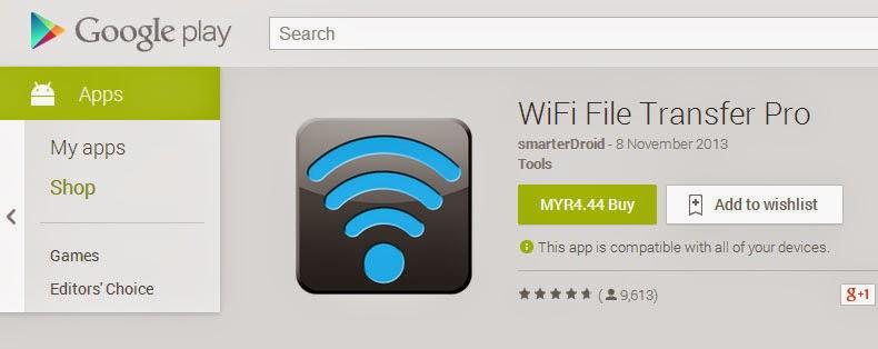 Wifi File Transfer Pro Lebih Baik Untuk Pindah Data Dari SmartPhone ke PC