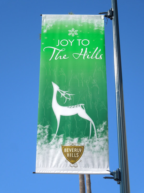 Joy to The Hills reindeer Christmas banner
