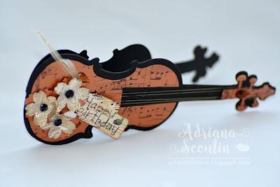 Felicitare aniversara in forma de vioara