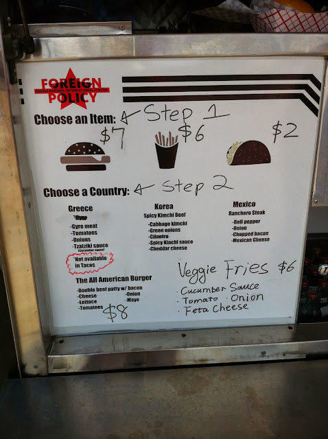 Foriegn Policy Food Truck Menu: Burger Fries, Taco, Greece, Korea, Mexico