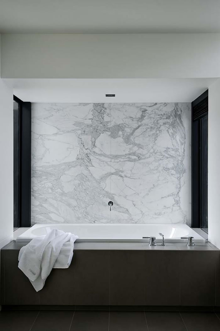 Grey marble white concrete charcoal timber new work for Grey marble bathroom