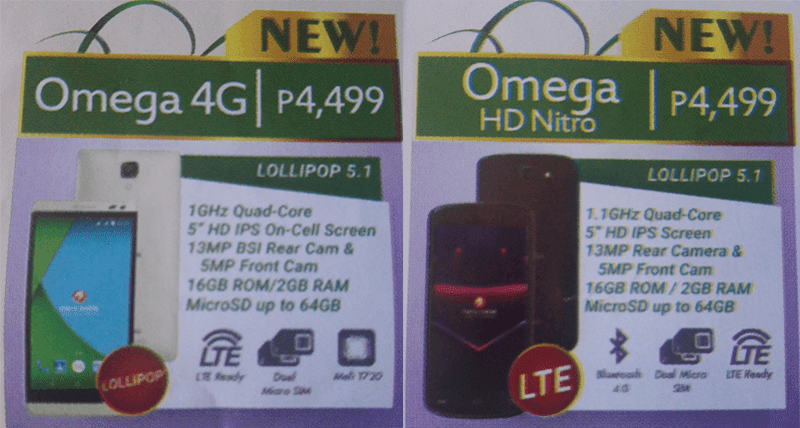 Cherry Mobile Omega 4G And Omega HD Nitro Are Two Upcoming Most Affordable LTE Handsets With 2 GB Of RAM Priced At Just 4499 Pesos!