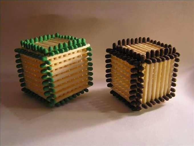 Как сделать кубик из спички