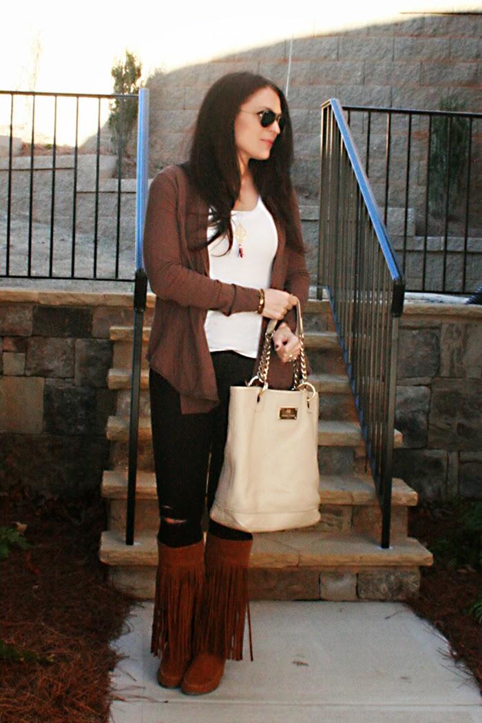 fringe boots, ripped jeans, darling darleen, tina turk handbags, ray-ban sunglasses