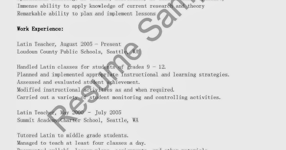resume samples  latin teacher resume sample