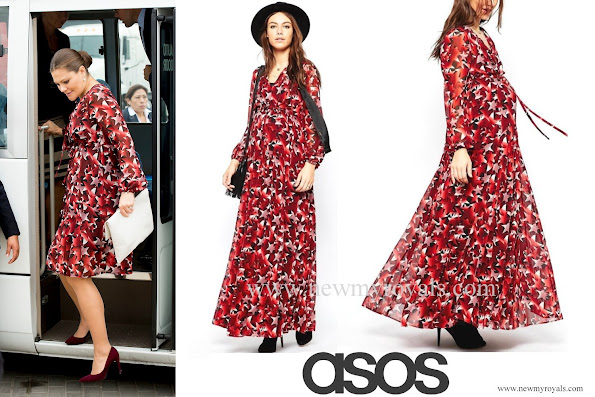 Crown Princess Victoria wore ASOS multi-color maternity dress in star print
