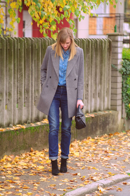 all denim look, zara oversize coat, asos boyfriend jeans, zara lunchbag, denim shirt, fashion blogger, fashion blog, style blogger, jeans look
