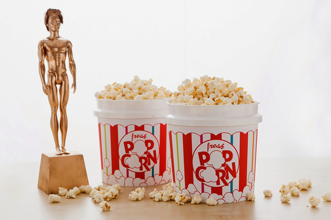 Popcorn Bar ideas for an Oscars/Academy Awards viewing party; bucket wrap