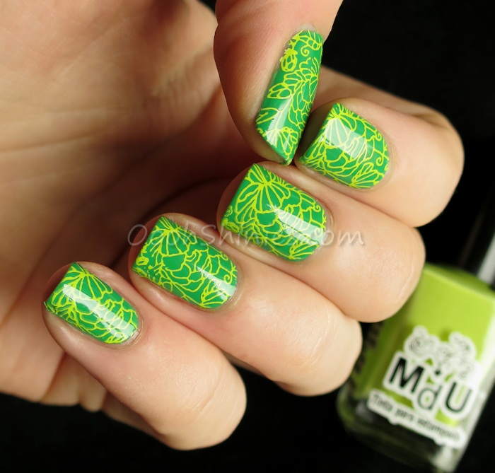 Miss Sporty #464 with Mundo de Uñas 65 Lime and MoYou London Pro plate 06