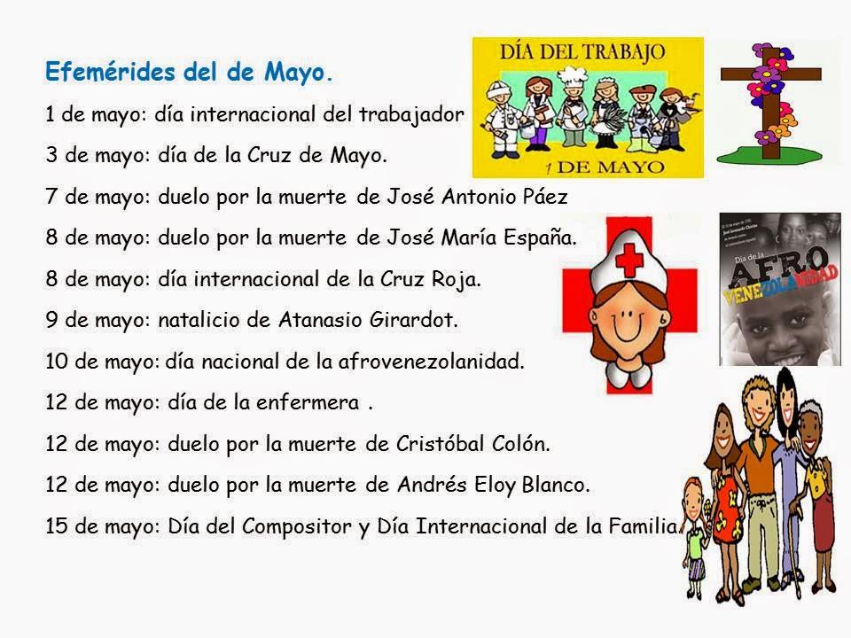 Maestra Asunción: Efemérides del mes de mayo.
