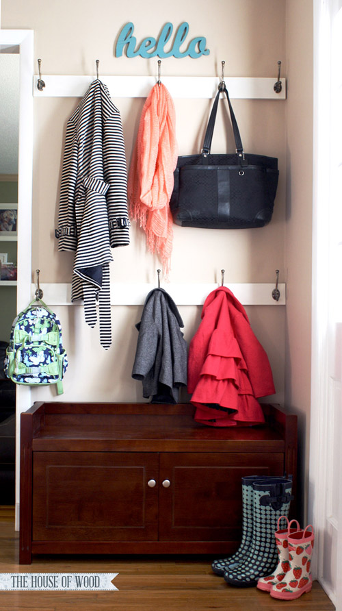 Hang hooks on the sides to hold backpacks jackets hats and other items. Pure genius right!? Via The Organised Housewife. & 9 Ideas to Organize Backpacks \u0026 Gear When You Don\u0027t Have a Mudroom