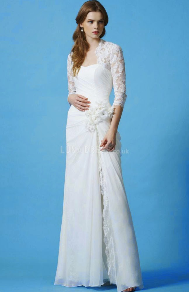 Casual White Wedding Dresses 3/4 Length Sleeves Design pictures hd