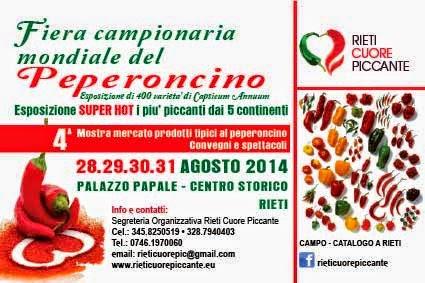 fiera campionaria mondiale del peperoncino. dal 28 al 31 agosto 2014 a rieti