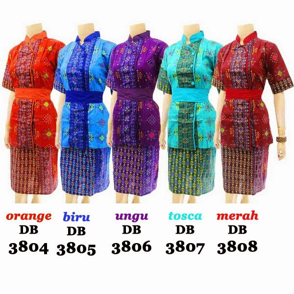 DB3804-3808 Model Baju Dress Batik Modern Terbaru 2014