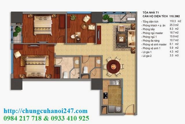 Thiết kế chi tiết căn hộ toà T1 chung cư Times City diện tích 110.3 m2
