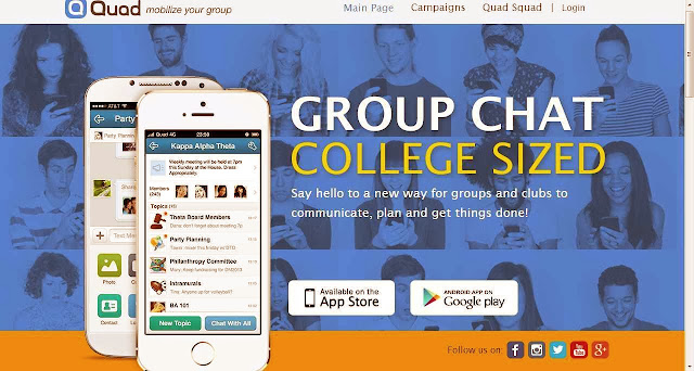 Threaded Group Chat  on Cell phones app QUAD for Colleges, Clubs etc.