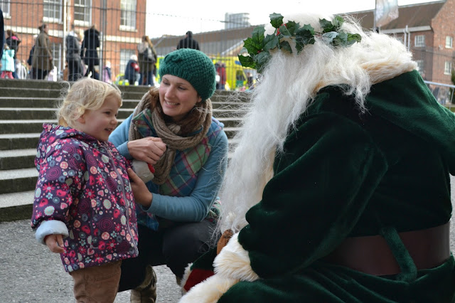 Tin Box Tot meeting Father Christmas at Portsmouth Historic Dockyard