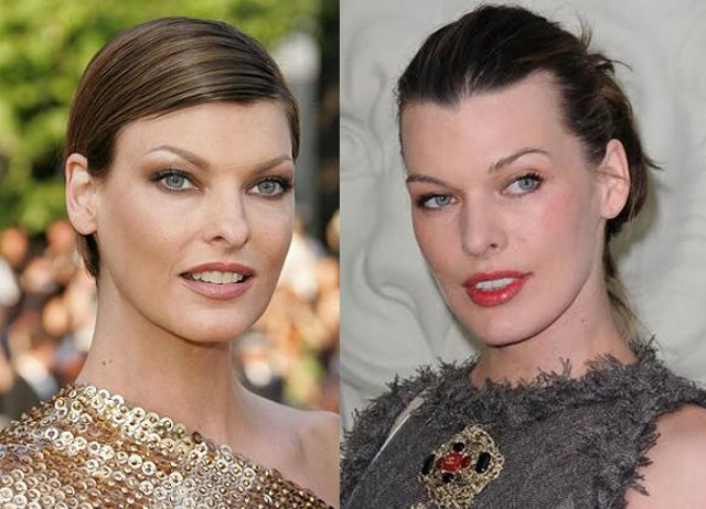 Linda Evangelista and Mila Jovovich side by side, look-a-like, celebrity doppleganger, Celebrity look-a-like, Beautiful woman, Hollywood actress, sexy woman