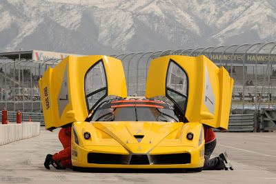 Yellow Ferrari FXX Doors Open Front End