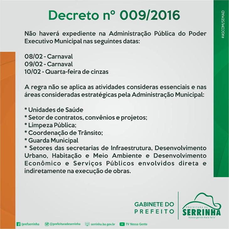 PREFEITURA MUNCIPAL DE SERRINHA INFORMA
