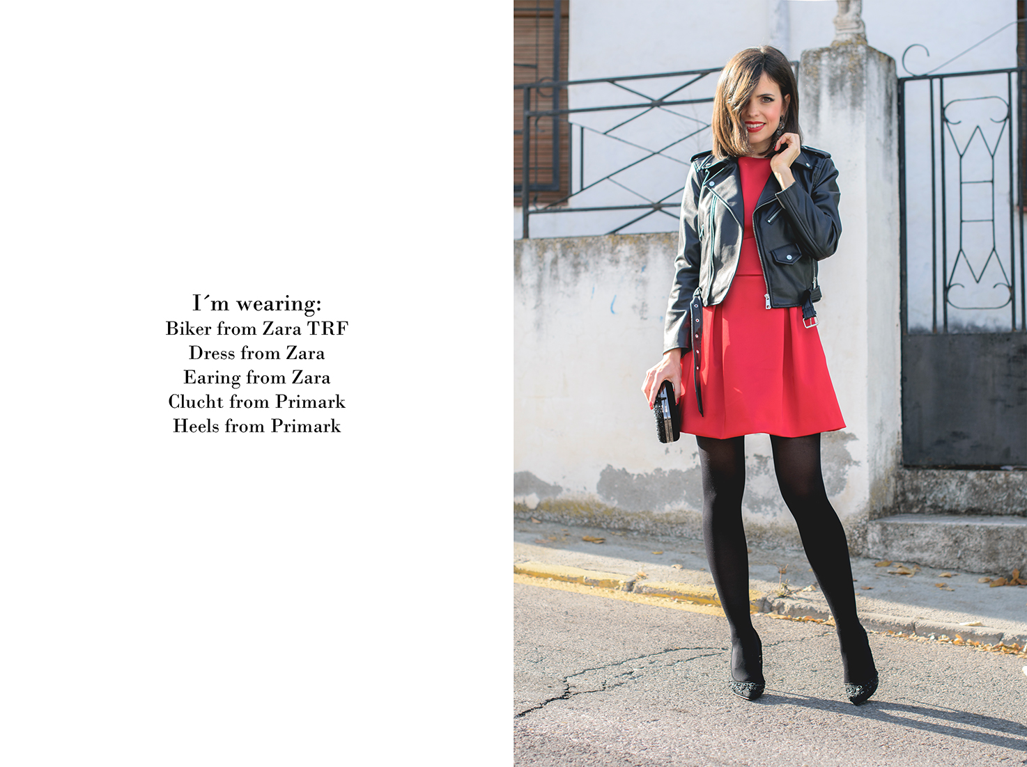 Total look de Zara con vestido rojo y biker para navidad