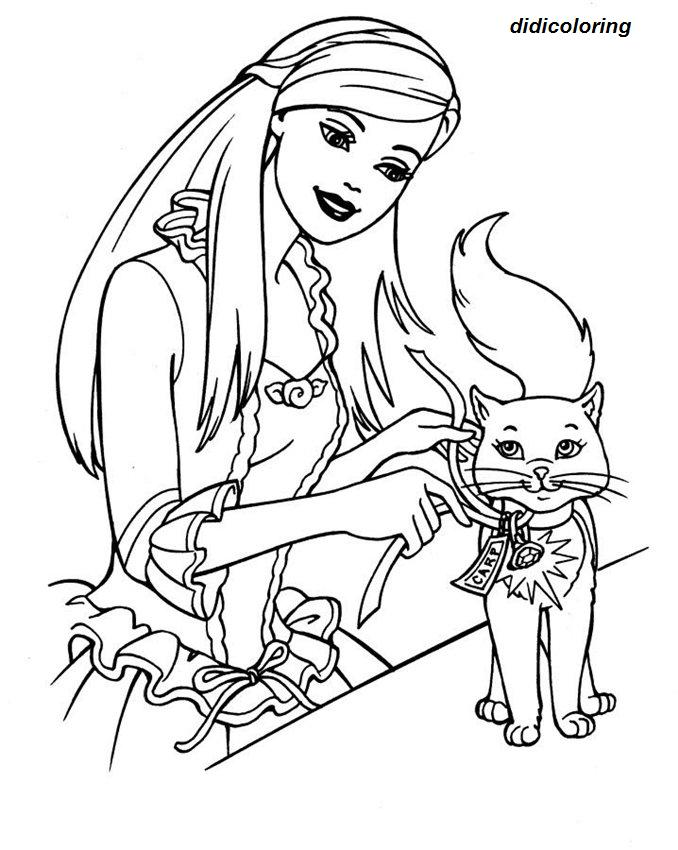 printable barbie with cat coloring page for girls - Didi coloring Page