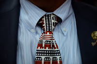 A Republican supporter wore a tie decorated with elephant mascots at the Republican National Convention in Tampa, Fla., in 2012. (Credit: Daniel Acker/Bloomberg, via Getty Images) Click to Enlarge.