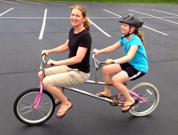 having fun on a tandem