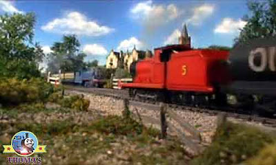 Island of Sodor Thomas the tank engine and James the red train beautiful green hills and valleys