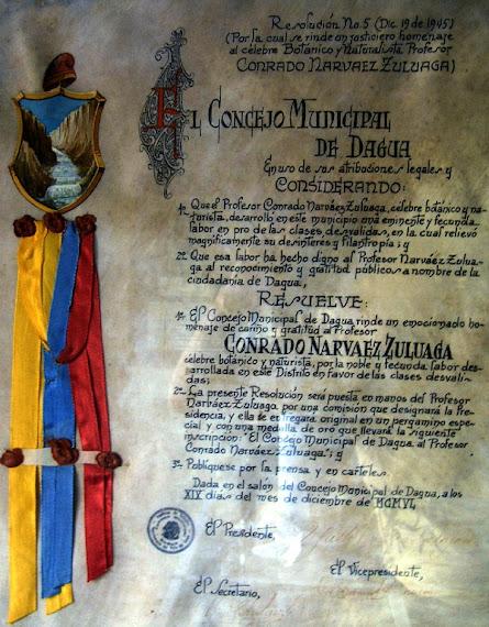 El Concejo Municipal de Dagua Resolución Nº 5Diciembre 19 de 1945