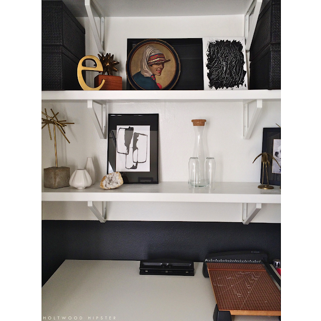 One Room Challenge Black and White Interiors Office Organization