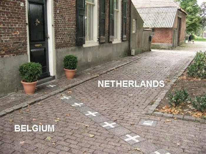 The Netherlands and Belgium Country Border House