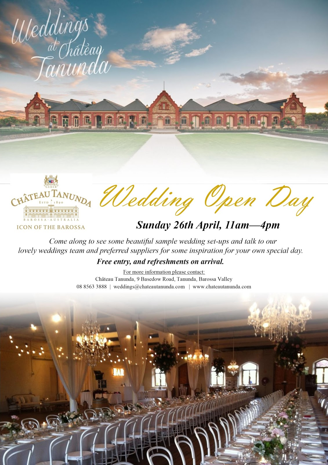 chateau tanunda wedding open day bridal expo adelaide sail and swan