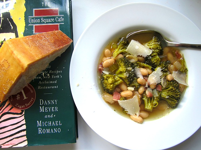White Bean & Broccoli Soup w/ Prosciutto & Parmesan
