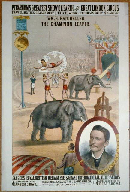 circus, vintage, vintage posters, classic posters, retro prints, free download, graphic design, wildlife, animal poster, P.T. Barnum's Great Show on Earth and Great London Circus - Vintage Circus Poster
