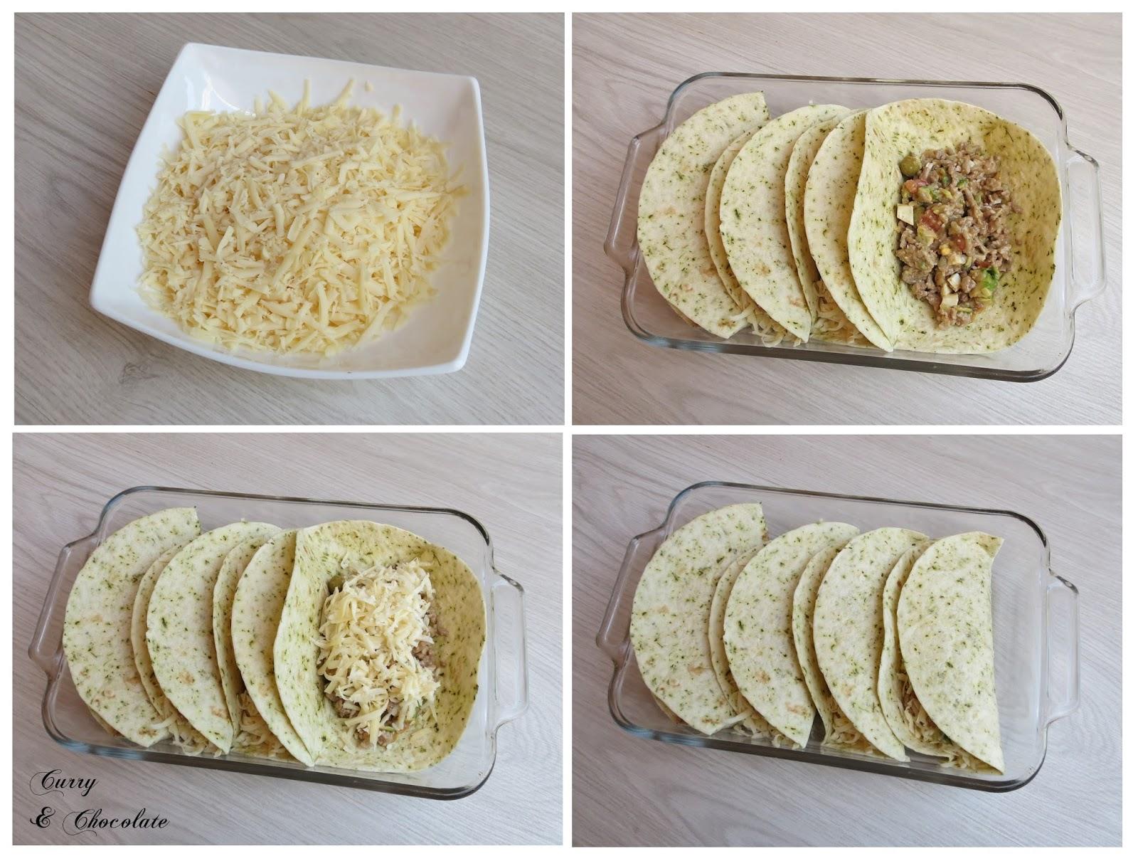 Rellenando las tortillas