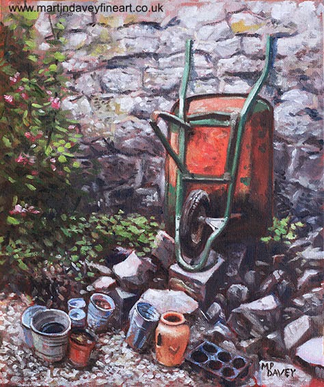 Still life wheelbarrow with collection of pots by stone wall-painting