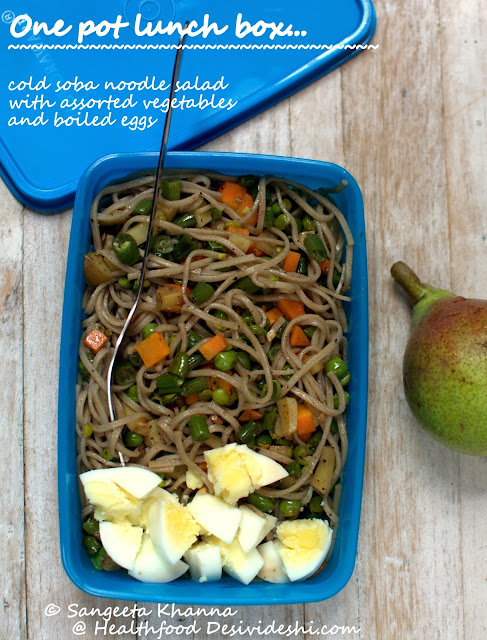 cold soba noodle salad for lunch box