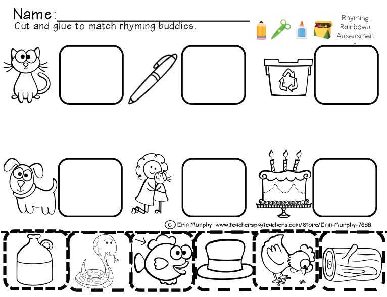 Rhyming Worksheets For Kindergarten Cut And Paste – Kindergarten Rhyming Worksheets