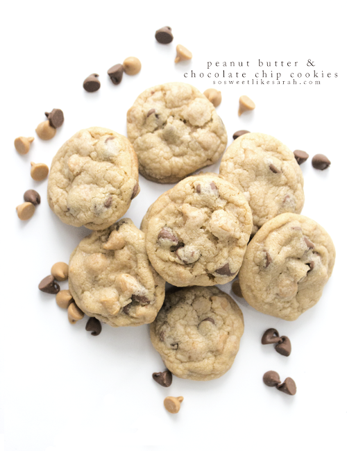 Peanut Butter and Chocolate Chip Cookies || sosweetlikesarah.com